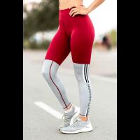 Bar layered workout legging dark red/grey